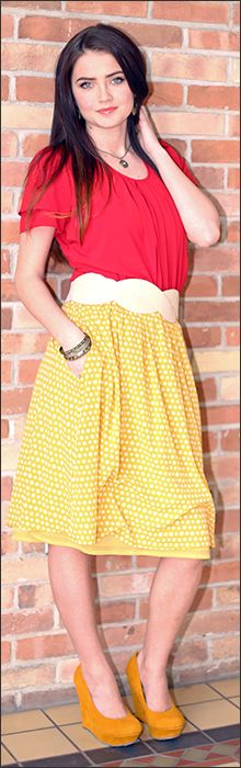 I like the skirt length and pattern, but I don't think I would choose yellow since I am so pale already.  Like the belt.