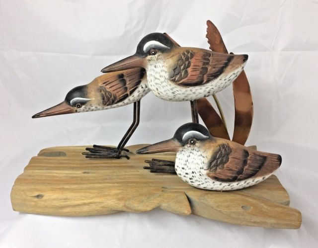 Beach Coastal Wooden Sculpture Sandpiper Sand Piper Bird Wood Metal Art Figure   | eBay
