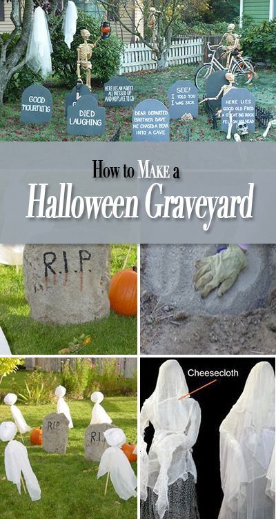 How to Make a Halloween Graveyard • Lot's of tutorials and ideas, including how to make gravestones, ghosts, and even a coffin!