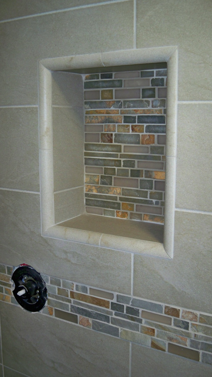 14 best shower niches images on pinterest porcelain tiles ceramic tile with glass sheet tile cut for horizontal trim and niche back jtholroyd dailygadgetfo Images