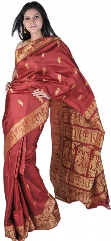Rosewood-Red Baluchari Sari from Bengal with Mythological Episodes Woven by Hand