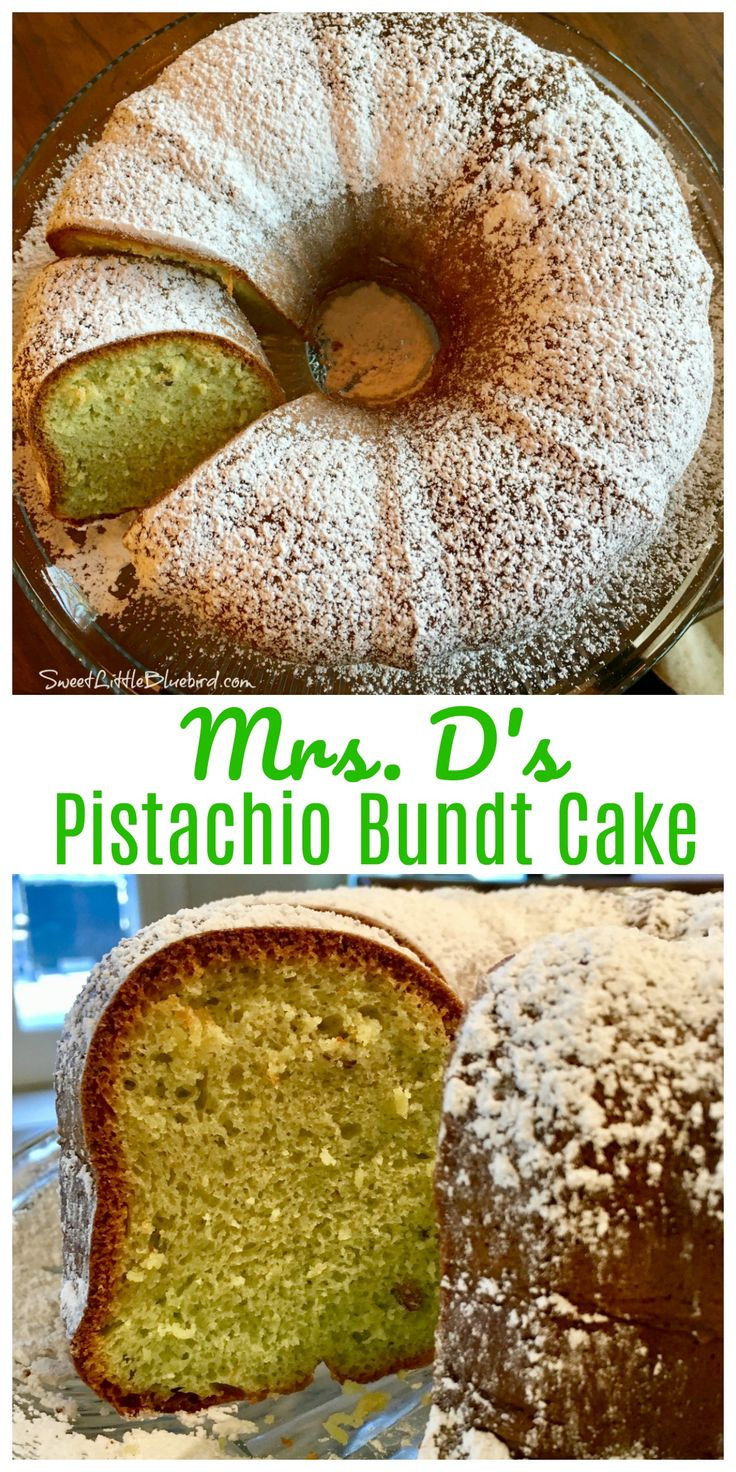 MRS. D's PISTACHIO BUNDT CAKE -  Quick, easy and oh so good! A super moist cake, full of flavor that can be served year round, for so many occasions. This awesome dessert is sure to get rave reviews from family and friends and become a new favorite!