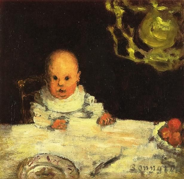 Child at Table, 1893 by Pierre Bonnard. Post-Impressionism. genre painting. Private Collection