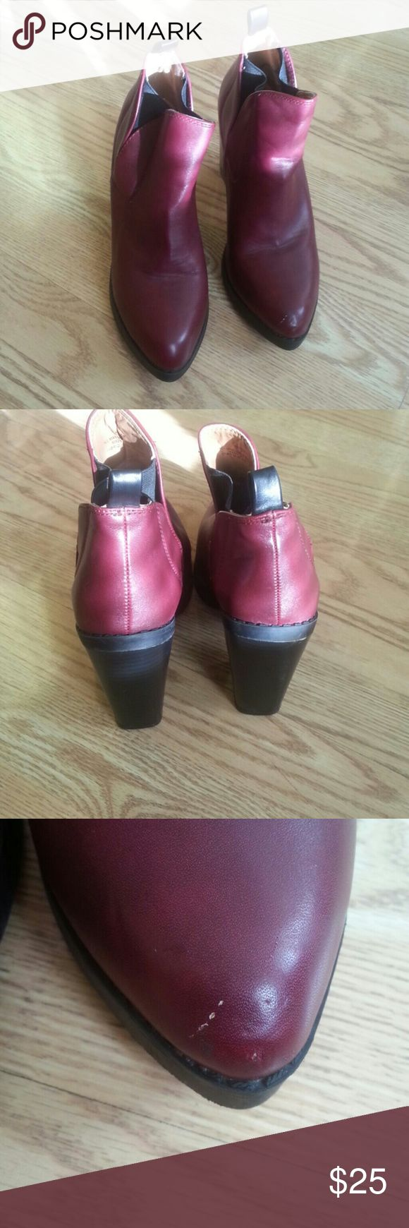 """Deena&Ozzy burgundy booties Booties on 4""""block heel,minor scratch on the tip toe picture #3,  some stain inside, only inside! the left one, pic#4,  besides good cond visually,   these booties were worn once, , Deena & Ozzy Shoes Ankle Boots & Booties"""