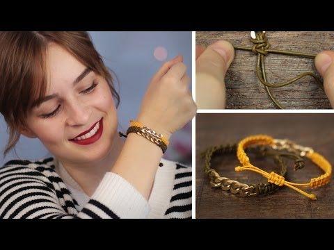 ▶ DIY Ketten-Lederarmband - Kreuzknoten - schnell, einfach - YouTube