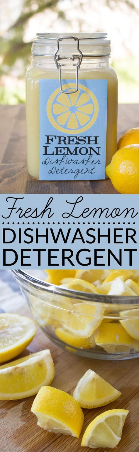 Looking for an easy, all-natural recipe for homemade dishwasher detergent? This Fresh Lemon Homemade Dishwasher Detergent uses real lemons, salt and vinegar to make liquid dishwasher detergent that is effective and non-toxic.