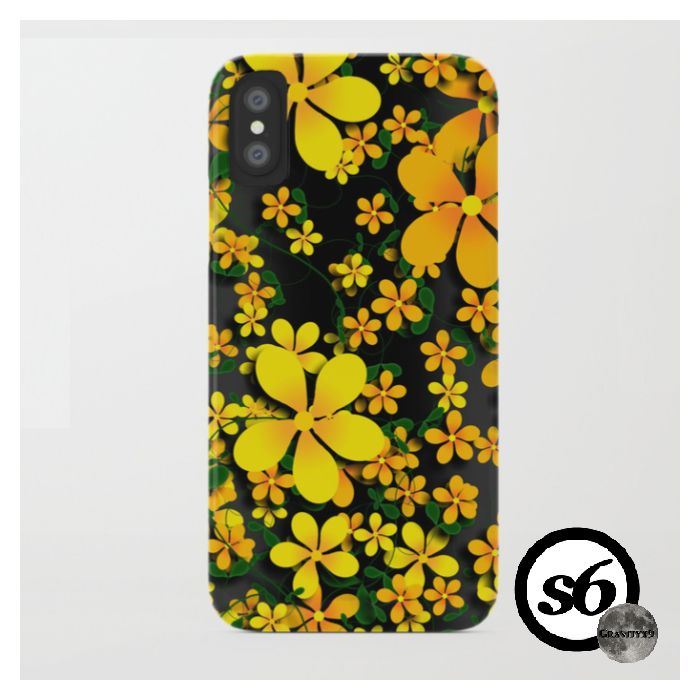 * Orange & Yellow Flowers on Black Background iPhone ...