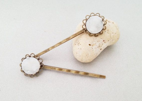 Brass and white faux druzy harpins hairslides by MKedraDecoupage, $3.00