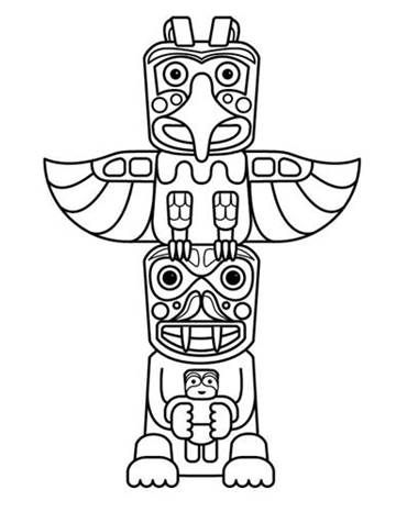Great Kid And Adult Party Activity Native Totem Pole Coloring Pages