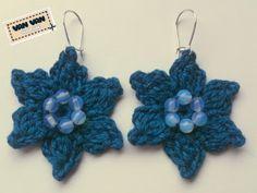 Van Van Handmade: Pendientes de algodón turquesa oscuro con piedras luna / Crochet earrings ♥Teresa Restegui http://www.pinterest.com/teretegui/ ★♥