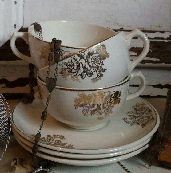 Brocante kop en schotels BOCH gouden rozen  Toen was geluk Veenendaal