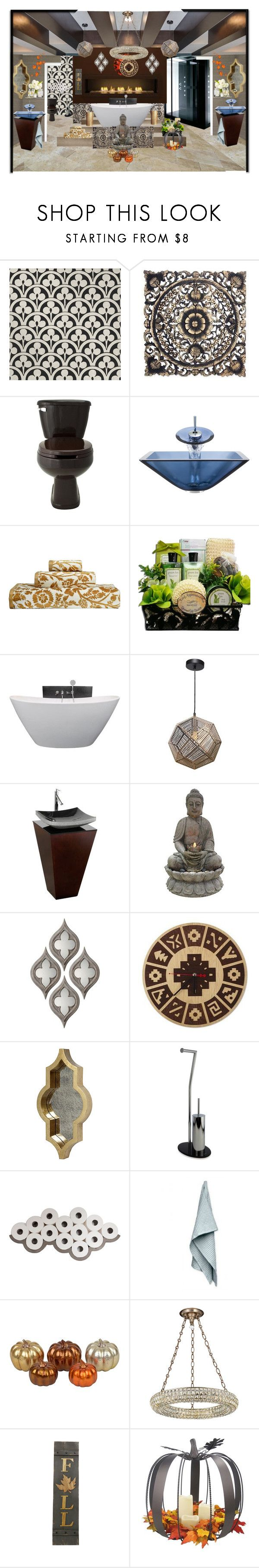 """""""fall Master Bathroom"""" by dixiemartel ❤ liked on Polyvore featuring Art Classics, NOVICA, Polaris, John Robshaw, Renwil, Wyndham Collection, Alpine, Möve, Lyon Béton and The Organic Company"""