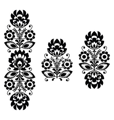 Folk embroidery - floral traditional polish print vector by RedKoala on VectorStock®