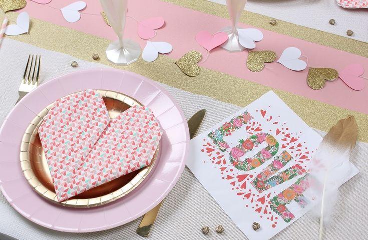 Love, love love ... Serviettes de table en papier Saint Valentin