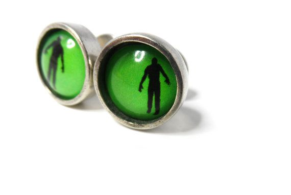 Zombie cufflinks, groomsmen gift, walking dead cufflinks, wedding cufflinks