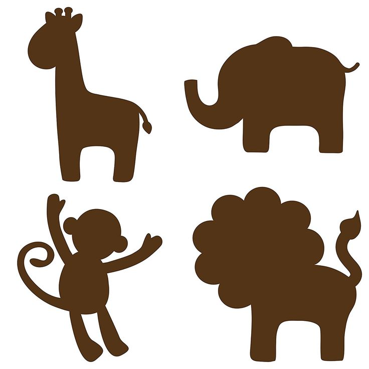 Brewster WPSI98852 Wall Pops for Baby Peel and Stick Jungle Silhouette, Espresso Brown
