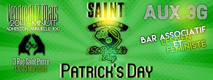 Saint Patrick's Day Vendredi 17 Mars – 20h – Minuit 🍀 Saint-Patrick 🍀 A la Saint-Patrick, on passe à l'heure celtique ! Mettez-vous au vert le 17 Mars, retrouvez-nous AUX 3G dans une ambiance conviviale et chaleureuse pour festoyer durant toute la soirée  https://www.unidivers.fr/rennes/saint-patricks-day-2/ https://www.unidivers.fr/wp-content/uploads/2017/02/facebook_event_318178535251273.jpg