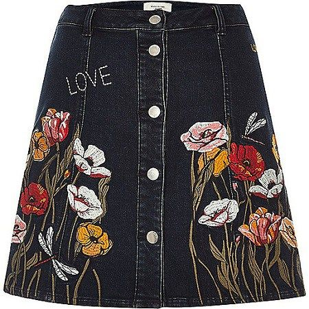 River Island embroidered τζιν φούστα
