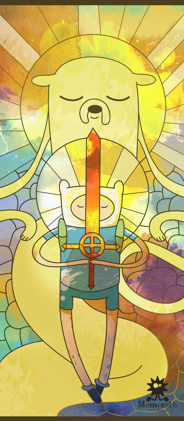 """Héroes by Momerath AyD (Mexico): """"En la tierra de Ooo, escondida en alguna parte del dulce reino se encuentra la cámara de los héroes, donde hace mas de mil años se libró la batalla final contra el Lich... Dos valientes héroes sacrificaron todo para sellar al Lich encerrándolo en sus corazones, haciéndolos caer en un sueño eterno. La leyenda dice que si los héroes despiertan del trance, la maldad que encierran los hará destruir toda la vida en Ooo."""" {digital illustration, 2013}"""