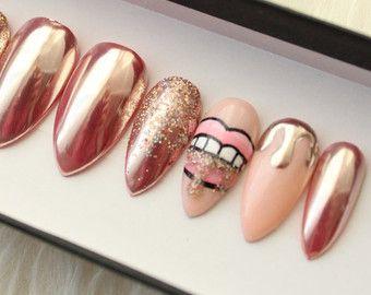Oro rosa brillo Pulse en uñas Uñas postizas por DippyCowNails