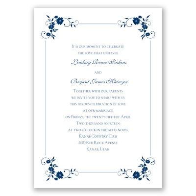 Davids Bridal Invitations  Blossoms Galore - Marine - Invitation