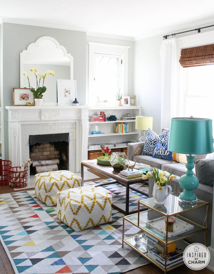 A colorful living room.  Eclectic, mix of patterns and colors.
