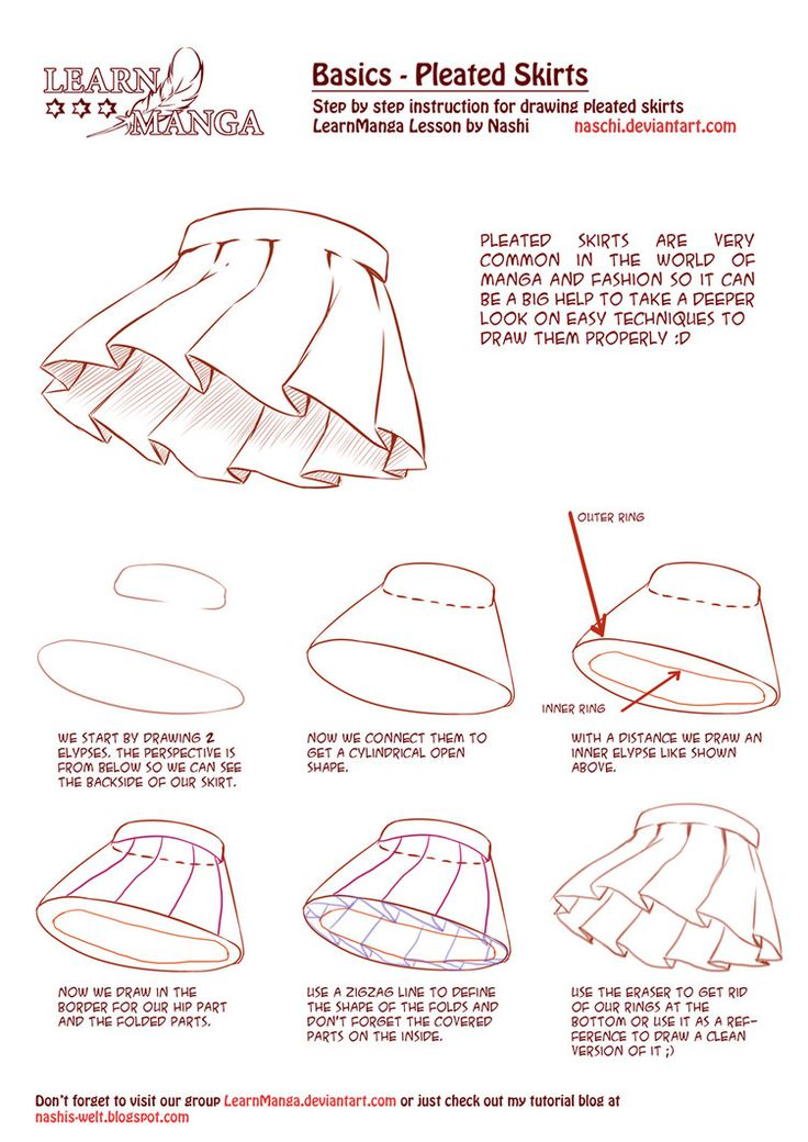 Learn Manga Basics: Pleated Skirts by Naschi on deviantART