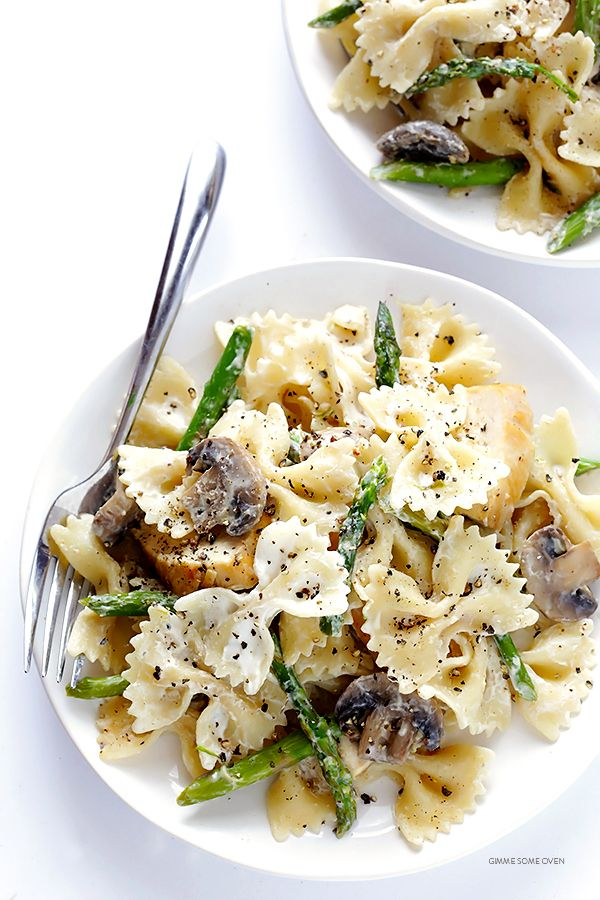 Pasta With Goat Cheese, Chicken, Asparagus & Mushrooms | Gimme Some Oven