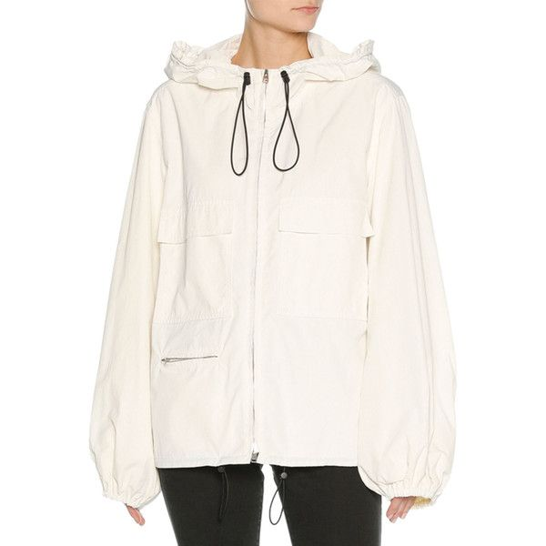 Marni Zip-Front Hooded Tech Jacket ($1,440) ❤ liked on Polyvore featuring outerwear, jackets, white, hooded parka, hooded jacket, hooded parka jacket, oversized jacket and white hooded jacket
