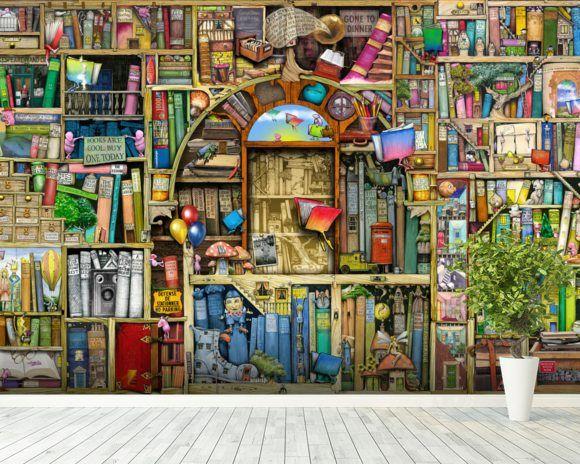 Neverending Stories wall mural room setting