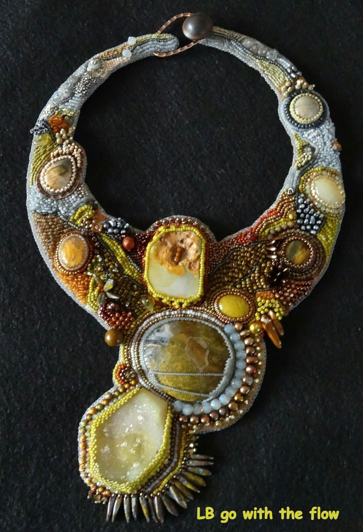 Bead embroidered necklace by lucie blaauw on flickr