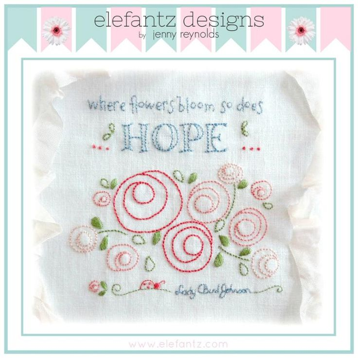 """So Does Hope"" - embroidery pattern and framing instructions. PDF download."