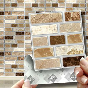 18 Peel, Stick u0026 Go Stone Tablet Self Adhesive Wall Tiles Kitchens u0026  Bathrooms