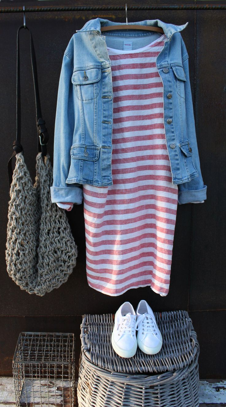 Breezy by-the-shore look, with a linen red striped dress, washed denim jacket, white sneakers and natural rope tote. Strolling on the boardwalk. Style Planet | MegbyDesign
