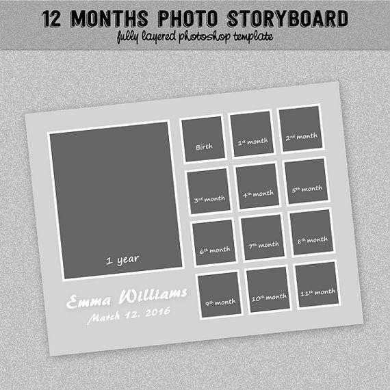 DIGITAAL object * Instant Download * geen fysiek product toegestuurd!  Deze set bevat een 8,5 x 11 photoboard en klaar om te houden van de 13 fotos - voor een tijdlijn je babys eerste jaar. Volledig gelaagd en bewerkbare PSD-bestand, knipmasker klaar.  Met dit bestand kunt u snel en gemakkelijk foto hogescholen. Ideaal voor fotografen, ontwerpers of scrapbookers die op zoek naar kwaliteit ontwerpen. Gemakkelijk en snel een mooie collage maken voor uzelf of voor uw klant. De sjabloon-set…