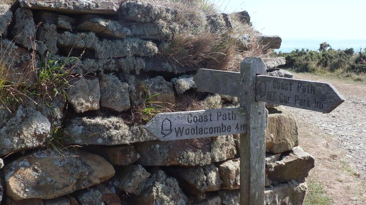 Signpost above Croyde Bay on the South West Coast Path in North Devon