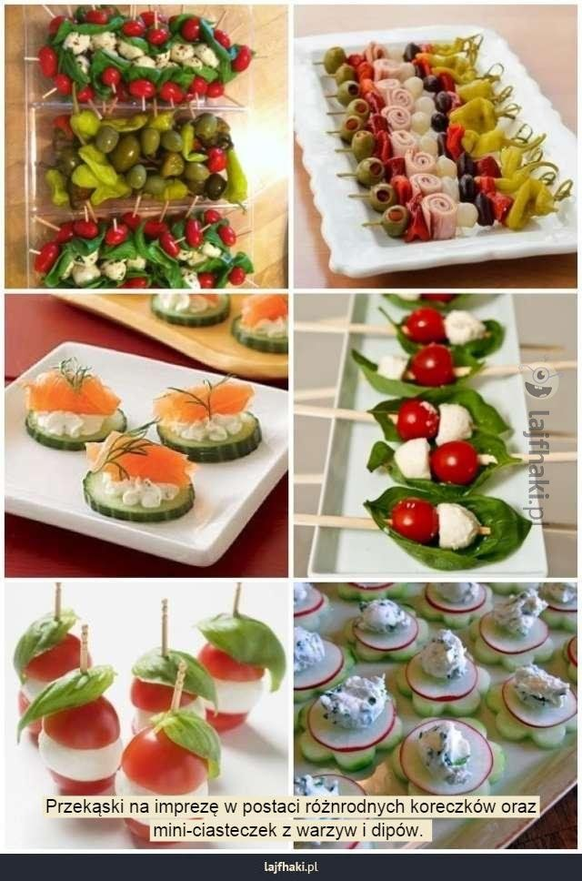Pomysły na przekąski imprezowe - Przekąski na imprezę w postaci różnorodnych koreczków oraz mini-ciasteczek z warzyw i dipów.