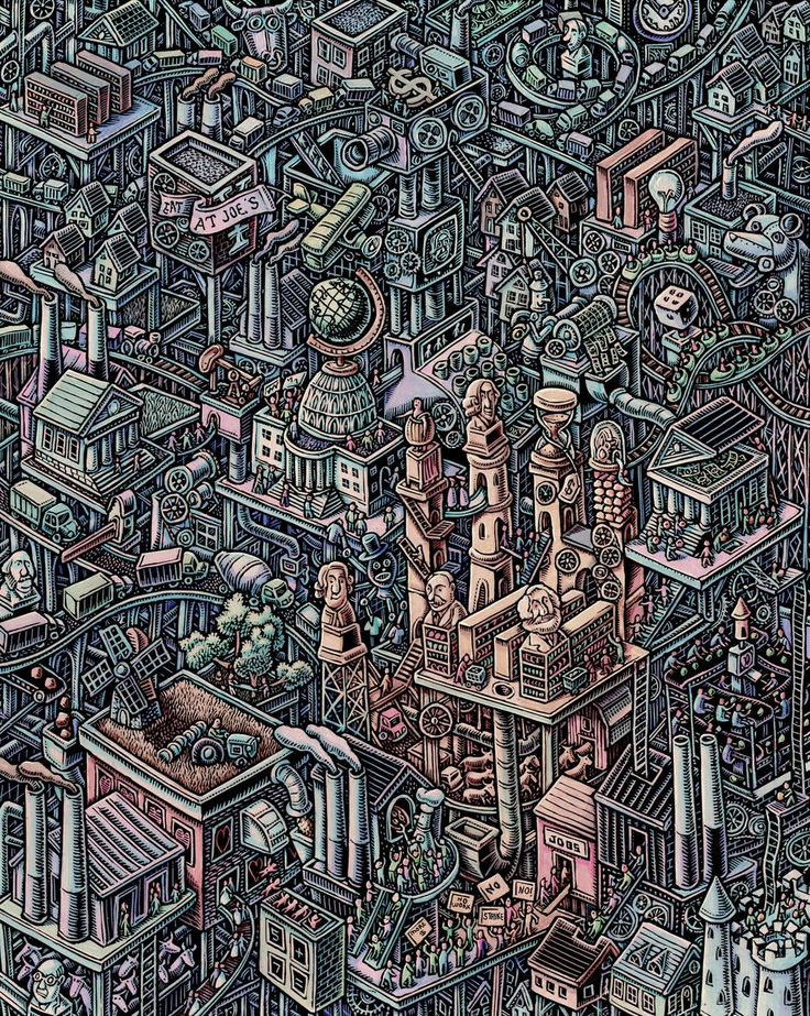 Scratchboard illustration by Lisa Haney. This illustration was for an economics textbook... I tasked myself with trying to show how the economy functions like a giant machine, like a Rube Goldberg city... with the 'hidden hand of the market', which you can see in the yellow area...