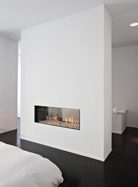 .very clean see-through linear fireplace