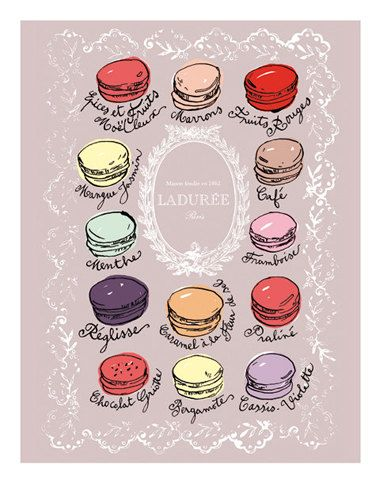 Macaron flavor chart, 8X10 pastel print, art for kitchen, Choose your color, french home decor, Paris bakery, french macarons, food art