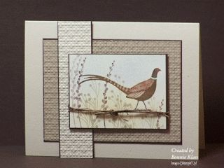 "By Bonnie Klass. Dry embossing (""Square Lattice"" folder), mats, jute, card base, stamping. Pheasant and foliage stamps from ""Autumn Days"" (Stampin' Up)."