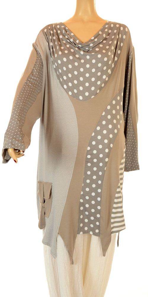 Turbulence Funky Grey And Taupe Spots & Stripes Drape Neckline Tunic-Turbulence, lagenlook,
