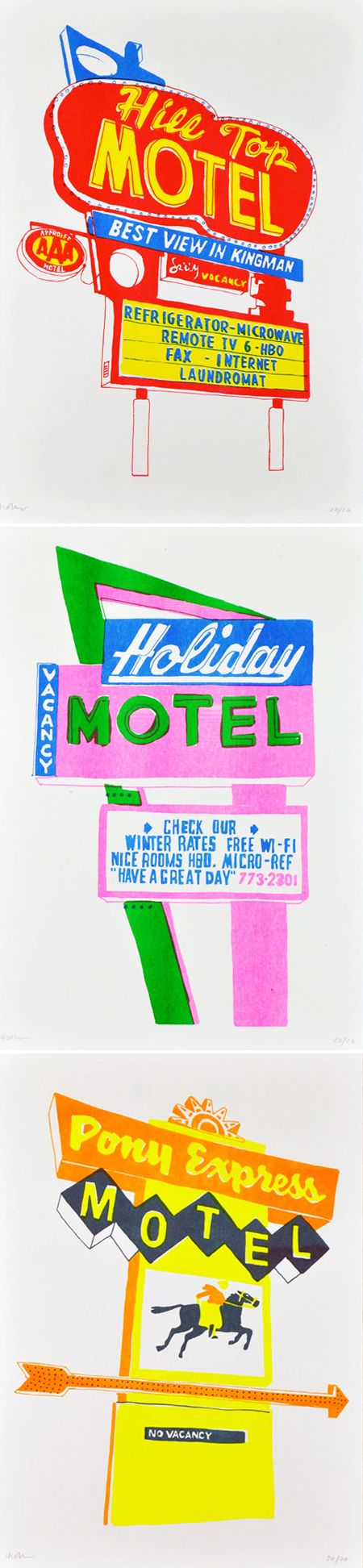 motel signs by holly wales {felt tip marker!}