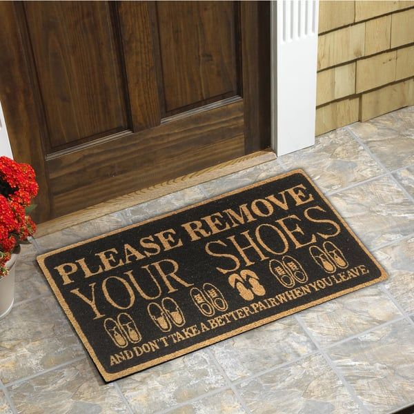 Please Remove Your Shoes Black Coir 18 Inch X 30 Inch Door Mat Bedrooms An Home Living Home Decor Home Decor Shops Home