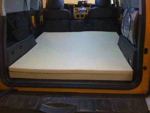 Toyota FJ cruiser simple memory foam cutout = mobile hotel room  :-)