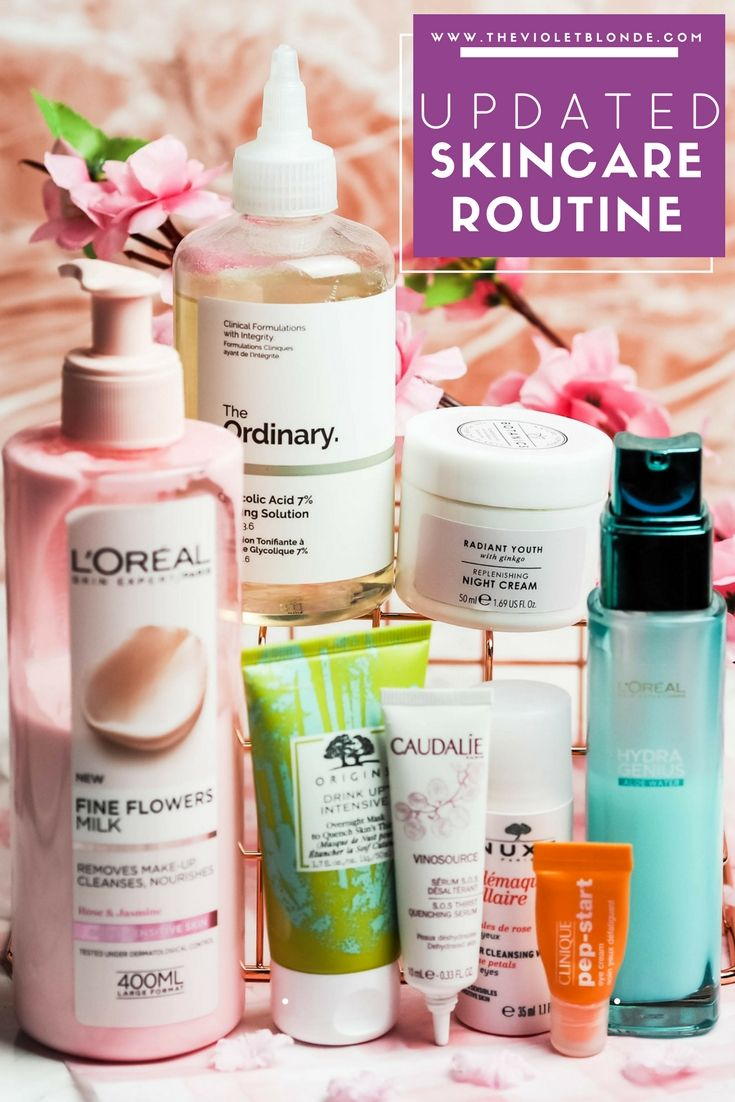 An updated skincare routine for normal but dry skin from cleansing to moisturisers. Features The Ordinary Glycolic Toning Solution, Orgins Drink Up Overnight Moisture Mask, Caudalie SOS Thirst, and more from Clinique, L'Oreal, Boots Botanics and Nuxe. The Violet Blonde - beauty and lifestyle blogger