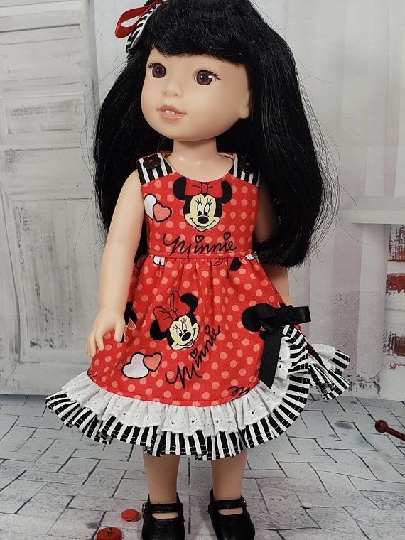 Debs Minnie Mouse Costume DRESS TIGHTS SHOES Doll Clothes For 14 Wellie Wishers