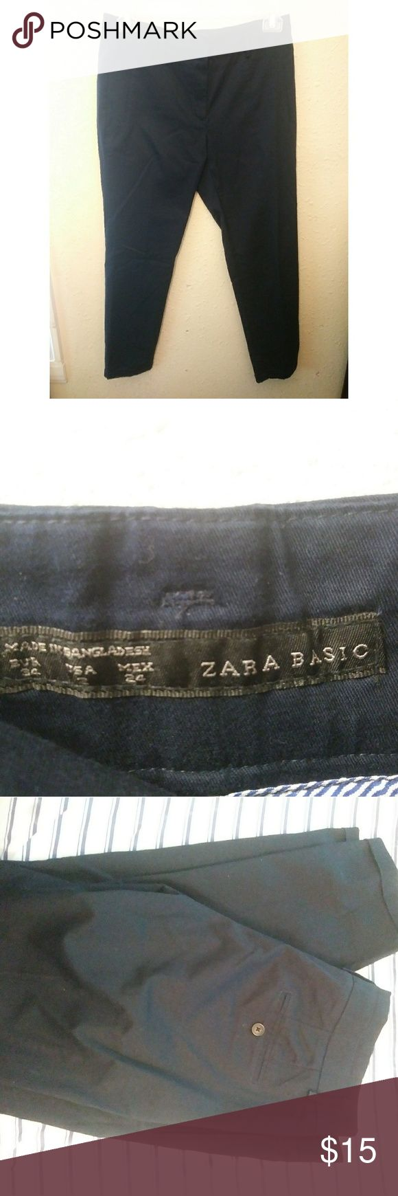 Zara Basic Navy Career Pants In great shape, perfect for the office! Zara Pants