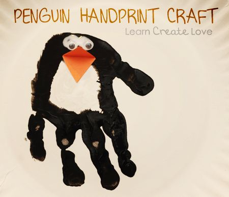 Create this fun penguin handprint craft that can be used as a story starter.