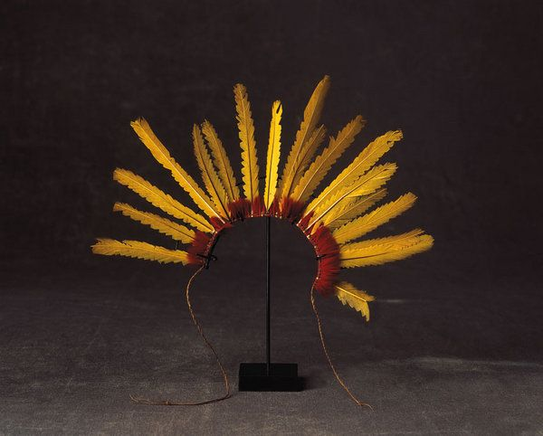 A rare collection of Amazonian feather adornments of exceptional colour and condition from the Urubu Kaapor tribe, Brazil (Amazonian , Brazil)